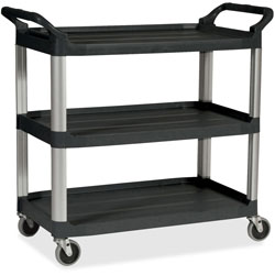 Rubbermaid Three Shelf Plastic Utility Cart, 185/8wx335/8dx373/4h, Black