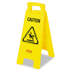"Rubbermaid Wet Floor Sign, Multilingual, Foldable, 11""x26""x25"", Yellow"
