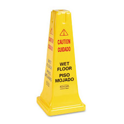 "Rubbermaid Four Sided ""Caution, Wet Floor"" Safety Cone, 10 1/2w x 10 1/2d x 25 5/8h, Yellow"