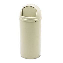 Rubbermaid Marshal Classic Container, Round, Polyethylene, 15 gal, Beige
