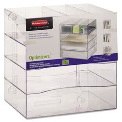 Rubbermaid Multifunctional Four Way Organizer with Drawers, Letter/A4, Clear