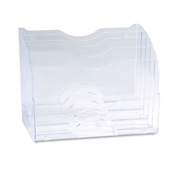Rubbermaid Two-Way Organizer, Three Sections, Plastic, 8-3/4W x 10-3/8D x 13-5/8H, Clear