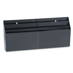 Rubbermaid Six Pocket Wall Mount or Desk Organizer, Plastic, Black