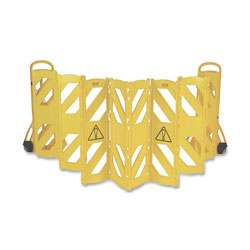 "Rubbermaid Mobile Barrier, Expands 13', Two 5"" Casters, 24""x13""x40"", Yellow"