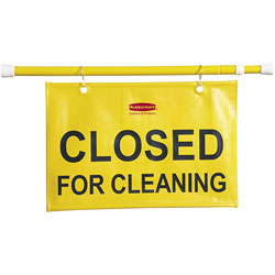 "Rubbermaid Sign, Safety, ""Closed for Cleaning"", Extends 49-1/2"", Yellow"