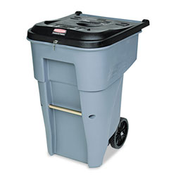 Rubbermaid Roll-Out Plastic Wheeled Trash Can, 65 Gallon, Gray