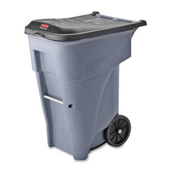 Rubbermaid Roll-Out Metal Wheeled Trash Can, 65 Gallon, Gray