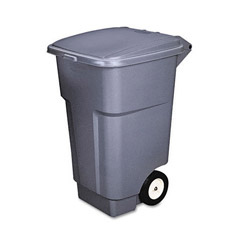 Rubbermaid Brute Big Wheel Container, Square, Plastic, 50 gal, Gray
