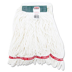 Rubbermaid Looped-End Antimicrobial Cotton/Synthetic Wet Mop Head, Medium, White.