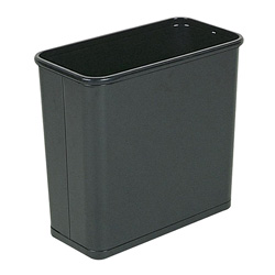 Rubbermaid Black Steel Fireproof Trash Can, 7.5 Gallon, Rectangle