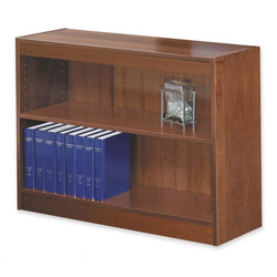 "Safco Square Edge Veneer 2 Shelf Bookcase, 36"" x 12"" x 30"", Cherry"