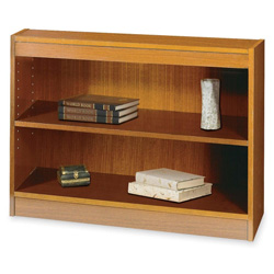 "Safco Square Edge Veneer 2 Shelf Bookcase, 36"" x 12"" x 30"", Medium Oak"