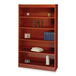 "Safco Square Edge Veneer 5 Shelf Bookcase, 36"" x 12"" x 60"", Cherry"