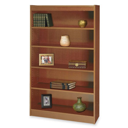 "Safco Square Edge Veneer 5 Shelf Bookcase, 36"" x 12"" x 60"", Medium Oak"