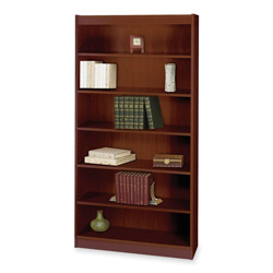 "Safco Square Edge Veneer 6 Shelf Bookcase, 36"" x 12"" x 72"", Mahogany"