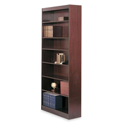 "Safco Square Edge Veneer 7 Shelf Bookcase, 36"" x 12"" x 84"", Mahogany"