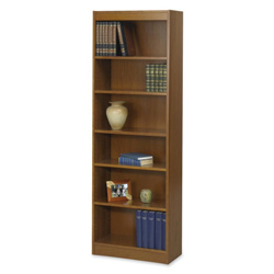 "Safco Baby Bookcase, 6-Shelf, 24""x12""x72"", Medium Oak"