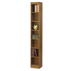 "Safco Baby Bookcase, 7-Shelf, 12""x12""x84"", Medium Oak"