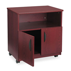 Safco Machine Stand with Open Compartment & Double Door Cabinet, Mahogany