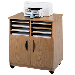 Safco Mobile Machine Stand with Sorter Compartments & Double Door Cabinet, Medium Oak
