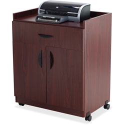 Safco Mobile Machine Stand/Beverage Cart with Two Door Cabinet & Drawer, Mahogany