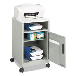 Safco Steel Machine Stand with Open Storage Compartment & One Door, Gray
