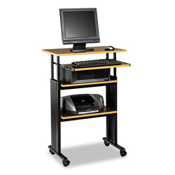 Safco Adjustable Height Stand Up Workstation, Cherry Shelves/Black Frame