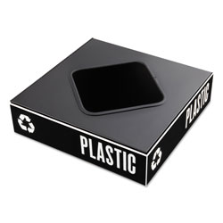 "Safco Recycling System Lid, 8"" Square Opening for Waste/Plastic, Black"