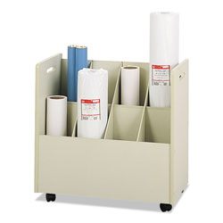 Safco Laminate Mobile Roll File, 8 7 x 7 Bins, 30 1/8wx15 3/4dx28 7/8h, Putty