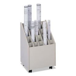 Safco Laminate Mobile Roll File, 20 2-3/4x2-3/4 Bins, 15-1/4wx 13-1/8dx23-1/4h, Putty