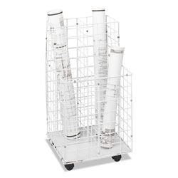 Safco Flat Bottom, Mobile Wire Roll File, 4 8 x 8 Bins, 16 1/4wx16 1/2dx30 1/2, White
