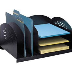 "Safco Steel Desk Organizer, 16 1/8""x11 1/8""x8 1/8"", Black"
