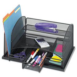 "Safco Organizer w/ 3 Drawers, Steel Mesh, 16"" x 11-3/8"" x 8"", Black"