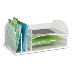 Safco Desk Organizer, Six Sections, Steel Mesh, 19 3/8 x 11 3/8 x 8, White