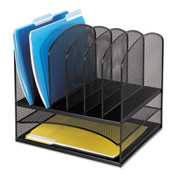 Safco Mesh Desk Organizer, Two Horizontal/Six Upright Sections, Black