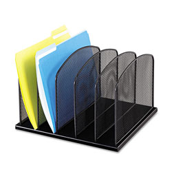Safco Mesh Desk Organizer, Five Upright Sections, Black