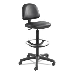 Safco Precision Extended Height Swivel Stool with Adjustable Footring, Black Vinyl