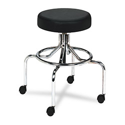 "Safco Screw Lift Stool with High Base, Height Adjustable 25"" to 33"", Chrome/Black"