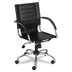 Safco Flaunt Series Mid-Back Manager's Chair, Black Leather