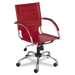 Safco Flaunt Series Mid-Back Manager`s Chair, Red Leather/Chrome
