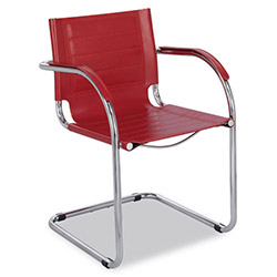 Safco Flaunt Series Guest Chair, Red Leather