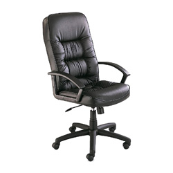 "Safco Serenity Executive High Back Swivel/Tilt Chair, For Over 5'8"", Black Leather"