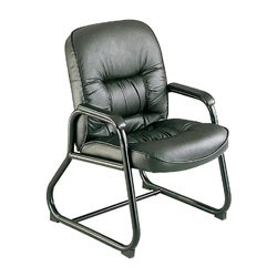 Safco Serenity Leather Guest Chair, Black Leather