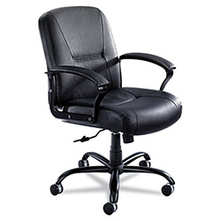 Safco Serenity Big & Tall Mid-Back Chair, Black Leather
