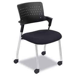 Safco Spry Series Guest Chair w/Casters, Plastic Back/Fabric Seat, Black/Chrome