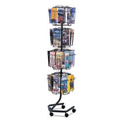 Safco Wire Rotary Brochure Rack, 32 Pockets, 15 1/4w x 16 1/2d x 60h, Charcoal