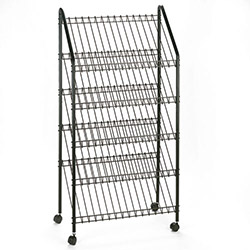 Safco Mobile Literature Rack, 32 1/2w x 32d x 63 5/8, Charcoal