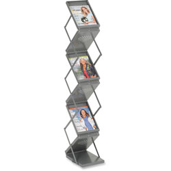 Safco Portable Folding Double Sided 6 Pocket Literature Display, Steel, Metallic Gray