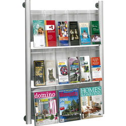 "Safco Magazine Rack, 9 Pockets, 31-3/4""x5""x41"", Silver"