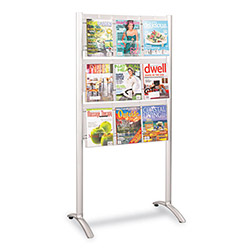 "Safco Magazine Rack, Floor Stand, 31-3/4"" x 20"" x 62-3/4"", Silver"